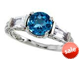 Original Star K™ Round 7mm Genuine Blue Topaz Engagement Ring