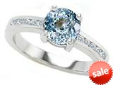 Original Star K™ Round 7mm Simulated Aquamarine Engagement Ring style: 27051