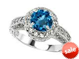 Original Star K™ Genuine 7mm Round Blue Topaz Engagement Ring