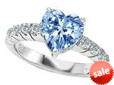 Original Star K™ 8mm Heart Shape Simulated Aquamarine Engagement Ring style: 27168