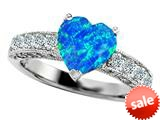 Original Star K™ 8mm Heart Shape Simulated Blue Opal Engagement Ring style: 27192