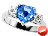 Original Star K™ Genuine 8mm Heart Shape Blue Topaz Engagement Ring