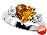 Original Star K™ 8mm Heart Shape Genuine Citrine Engagement Ring