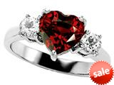 Original Star K™ Genuine 8mm Heart Shape Garnet Engagement Ring