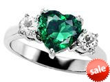 Original Star K™ 8mm Heart Shape Simulated Emerald Engagement Ring style: 27216