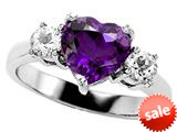 Original Star K™ 8mm Heart Shape Genuine Amethyst Engagement Ring