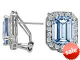 Original Star K™ Emerald Cut Simulated Aquamarine Earrings style: 27225