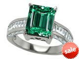 Original Star K™ Emerald Octagon Cut Simulated Emerald Engagement Ring