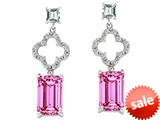 Original Star K™ 925 Emerald Cut Octagon Designer Hanging Drop Created Pink Sapphire Earrings style: 27306