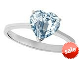 Tommaso Design™ Genuine Aquamarine Heart Shape 8mm Solitaire Engagement Ring style: 27965