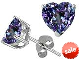 Tommaso Design™ Heart Shape 7mm Simulated Alexandrite Earrings Studs style: 28014