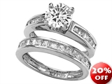 Original Star K™ Round 7mm Genuine White Topaz Wedding Set style: 28168