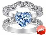 Original Star K™ 8mm Heart Shape Simulated Aquamarine Wedding Set style: 28587