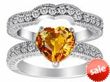 Original Star K™ Genuine 8mm Heart Shape Citrine Wedding Set style: 28589