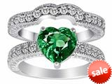 Original Star K™ 8mm Heart Shape Simulated Emerald Wedding Set