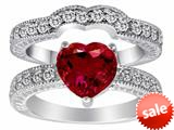 Original Star K™ 8mm Heart Shape Created Ruby Wedding Set style: 28599