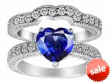 Original Star K™ 8mm Heart Shape Created Sapphire Wedding Set style: 28600