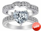 Original Star K™ 8mm Heart Shape Genuine White Topaz Wedding Set