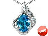 Tommaso Design™ Oval 7x5mm Genuine Blue Topaz and Diamond Pendant style: 300065