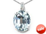 Tommaso Design™ Oval Simulated Aquamarine and Genuine Diamond Pendant style: 300505