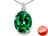 Tommaso Design™ Oval Simulated Emerald and Genuine Diamond Pendant