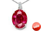 Tommaso Design™ Oval Created Ruby and Genuine Diamond Pendant