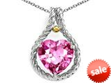 Rope Design 10mm Created Pink Sapphire Heart Pendant
