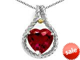 Noah Philippe™ Rope Design 10mm Created Ruby Heart Pendant