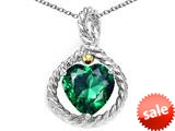 Rope Design 10mm Simulated Emerald Heart Pendant