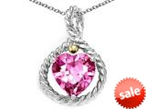Rope Design Heart Shape 10mm Created Pink Sapphire Pendant