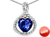 Rope Design Heart Shape 10mm created Sapphire Pendant
