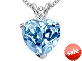 Tommaso Design™ Genuine 8mm Light Sky Blue Topaz and Diamond Heart Pendant