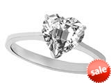 Tommaso Design™ White Topaz Heart Shape 8mm Solitaire Engagement Ring