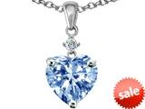 Original Star K™ Heart shape 8mm Simulated Aquamarine Pendant style: 302089