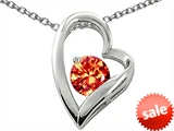 Original Star K™ Round 7mm Simulated Orange Mexican Fire Opal Heart Shape Pendant