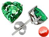 Original Star K™ 7mm Heart Simulated Emerald Earring Studs