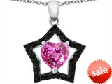 Original Star K™ 925 Heart Shaped Created Pink Sapphire Black Star Pendant style: 302271