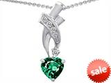 Original Star K™ 8mm Heart Shape Simulated Emerald Pendant style: 302349