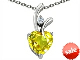 Original Star K™ Heart Shaped 8mm Simulated Yellow Sapphire Pendant style: 302376