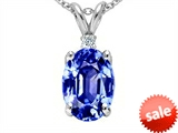 Tommaso Design™ Oval 8x6mm Simulated Tanzanite And Genuine Diamond Pendant