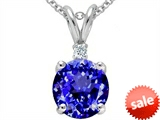 Tommaso Design™ 8mm Round Simulated Tanzanite and Genuine Diamond Pendant
