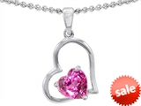Original Star K™ 8mm Heart Shape Created Pink Sapphire Pendant style: 302397
