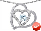 Original Star K™ 6mm Heart Shape Simulated Aquamarine Pendant