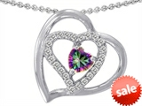 Original Star K™ 6mm Heart Shape Rainbow Mystic Topaz Pendant