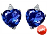 Original Star K™ Heart Shape 7mm Created Sapphire Earrings style: 302440