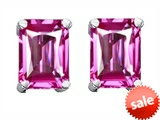 Original Star K™ 8x6mm Emerald Cut Created Pink Sapphire Earrings style: 302443