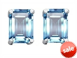 Original Star K™ 8x6mm Emerald Cut Simulated Aquamarine Earrings