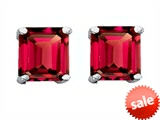Original Star K™ Square 7mm Created Ruby Earrings