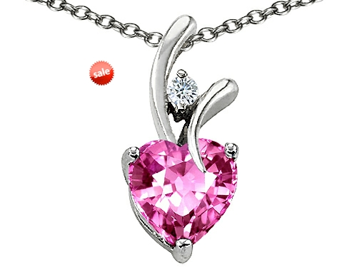 Original Star K™ Heart Shaped 8mm Created Pink Sapphire Pendant style: 302458