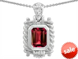 Original Star K™ Bali Style Emerald Cut 9x7mm Created Ruby Pendant